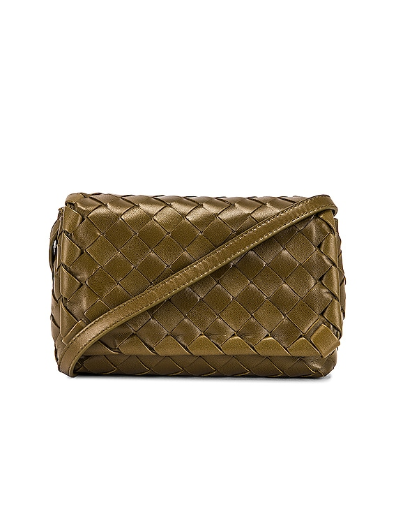 Leather Woven Crossbody Bag in Mud & Gold