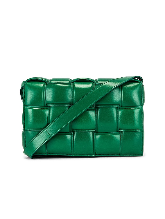Small Padded Cassette Bag in Racing Green & Gold