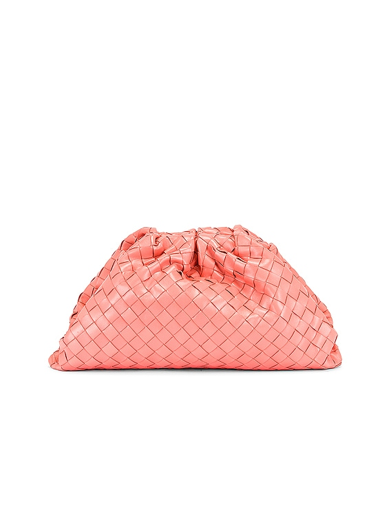 Woven The Pouch Clutch in Peach & Silver
