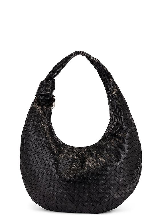 Maxi Woven Shoulder Hobo Bag in Black & Silver