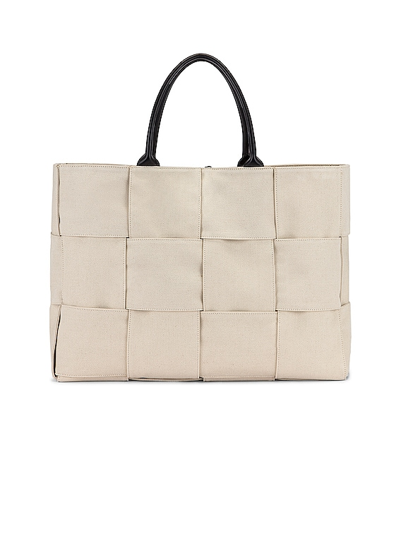 Large Woven Canvas & Leather Tote in Naturale & Black & Gold