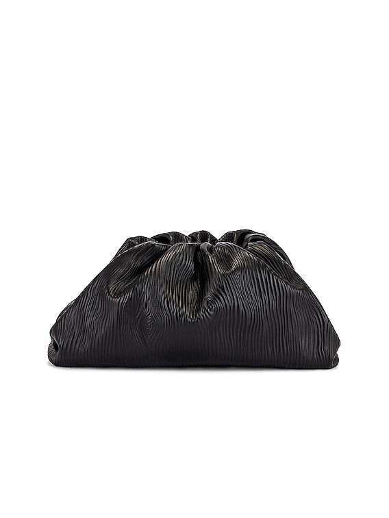 Leather Bark Pouch Clutch in Black & Silver