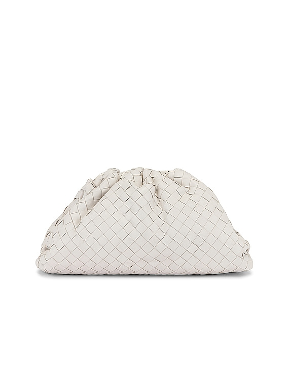 Large Pouch Clutch in White & Silver