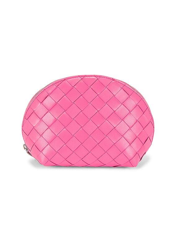 Medium Intrecciato Cosmetic Case in Pink & Silver