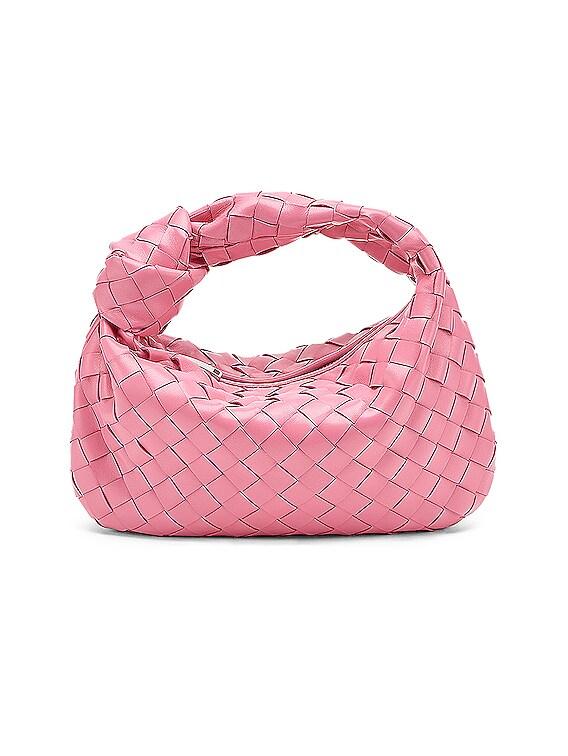 Intrecciato Shoulder Bag in Pink & Silver