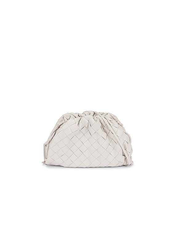 Mini Leather Woven Pouch Clutch Crossbody Bag in Chalk & Gold