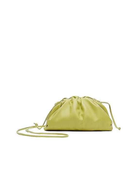 Mini Leather Pouch Clutch Crossbody Bag in Kiwi & Gold