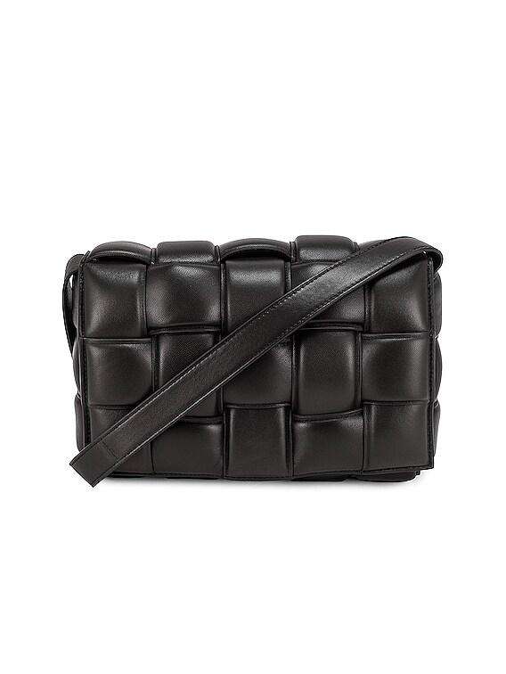 Padded Cassette Crossbody Bag in Black & Silver