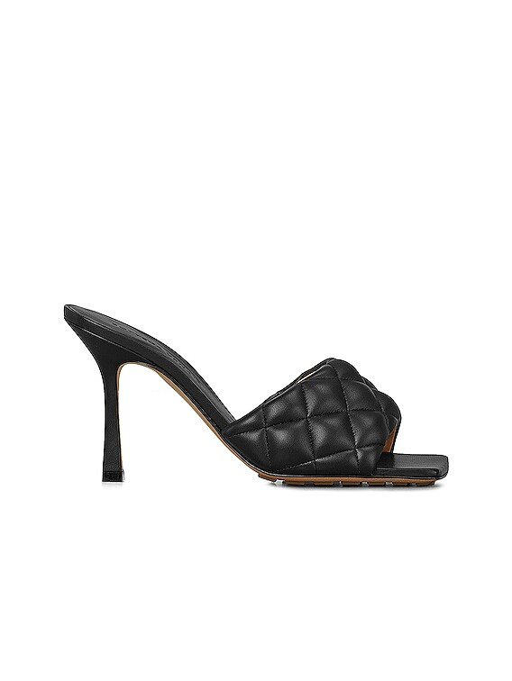 Leather Quilted Mules in Black