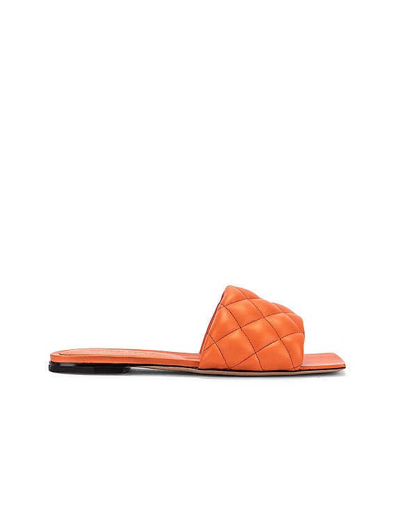 Leather Quilted Slides in Coral