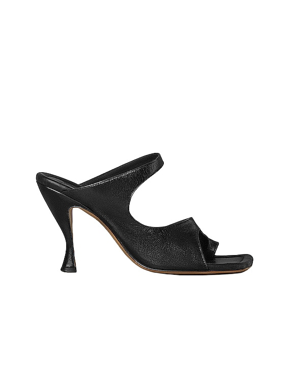 Leather Cutout Sandals in Black