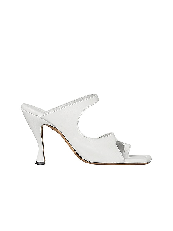 Leather Cutout Sandals in Optic White