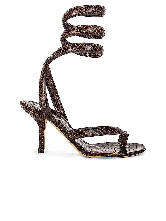 Printed Python Ankle Twist Heels in Chocolate