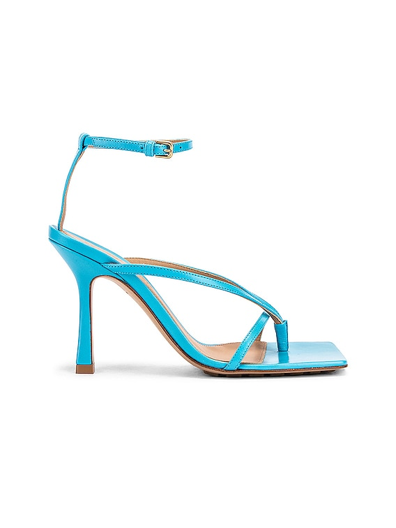 Leather Stretch Toe Heels in Sky Blue