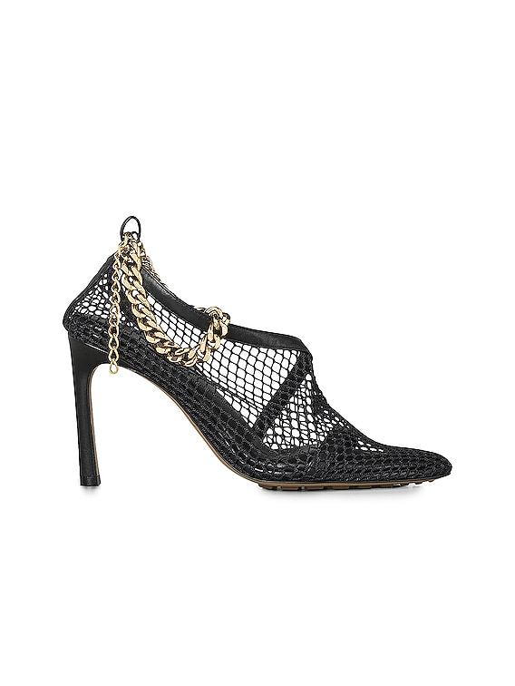 Mesh Chunky Chain Heels in Black & Gold
