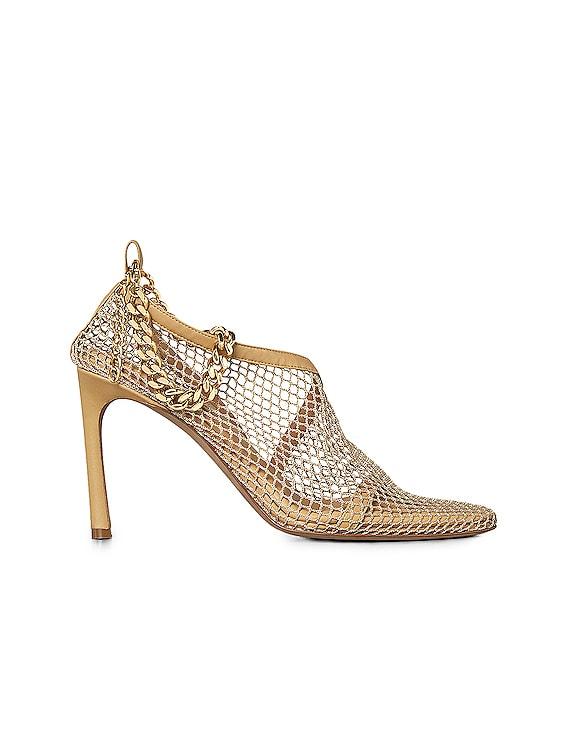 Mesh Chunky Chain Heels in Beige & Gold