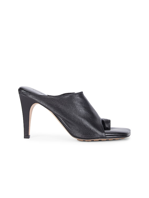 Open Toe Mules in Black