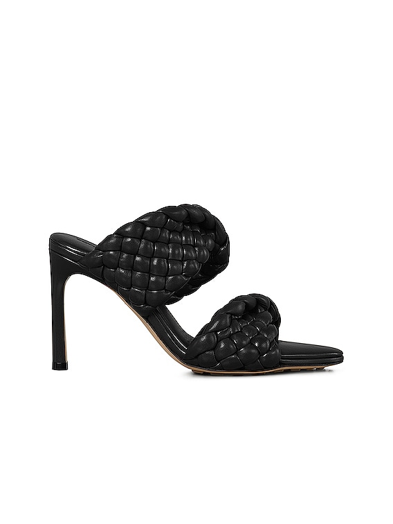 Padded Woven Leather Sandals in Black