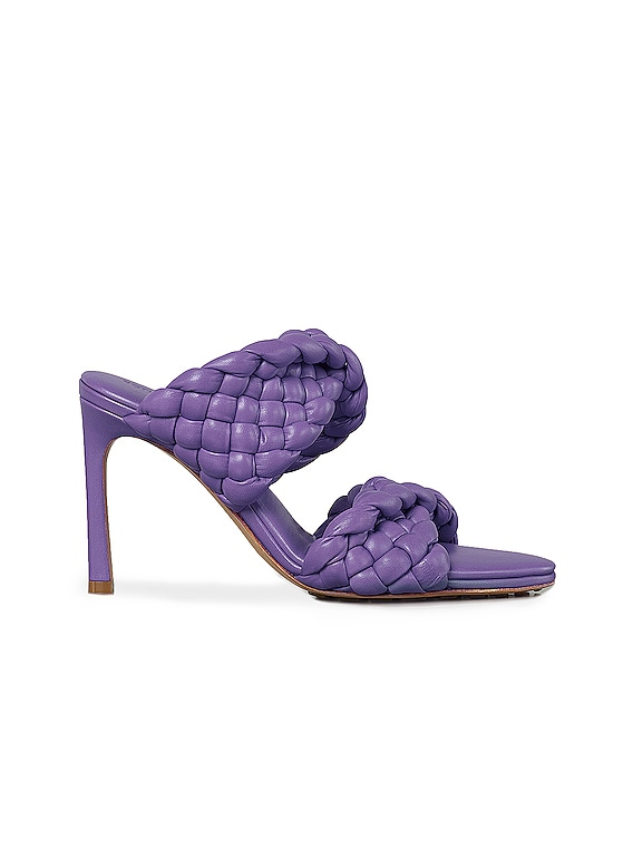 Padded Woven Leather Sandals in Purple