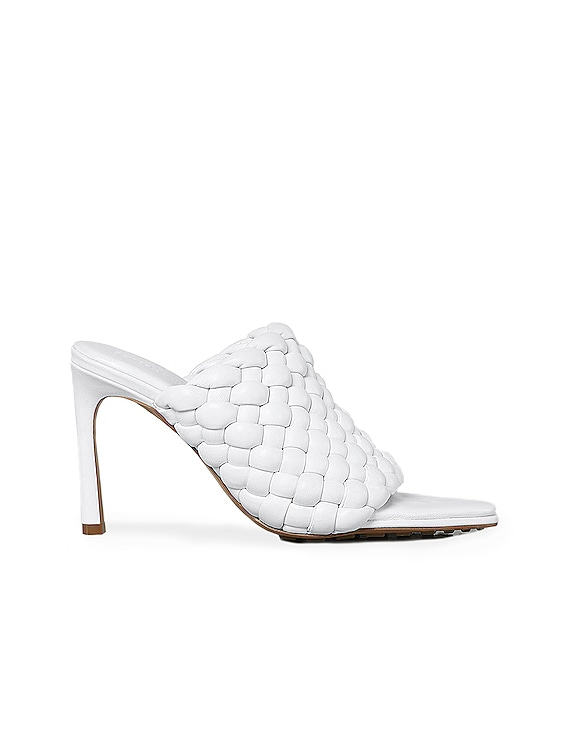 Padded Leather Sandals in Optic White