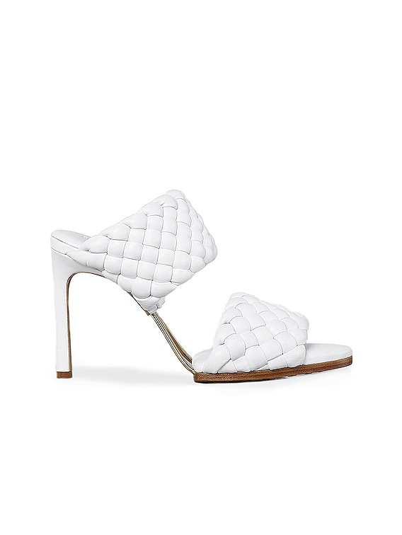 Lido Leather Woven Sandals in Optic White