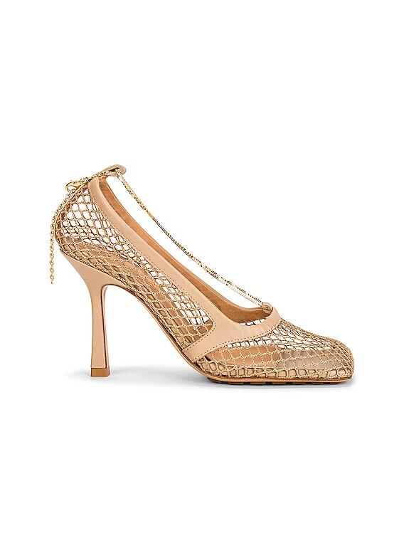 Mesh Ankle Strap Sandals in Beige & Beige