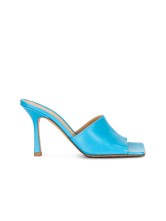Leather Mules in Sky Blue
