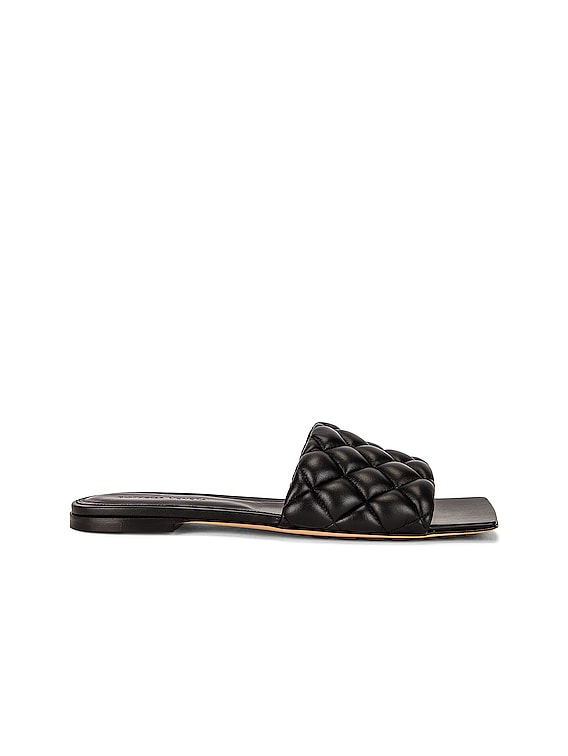 Flat Quilted Sandals in Black