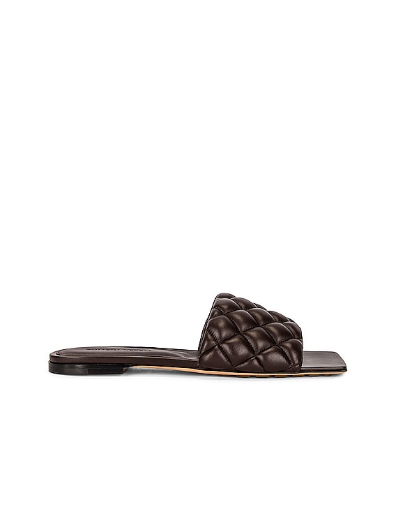 Flat Quilted Sandals in Chocolate Spread
