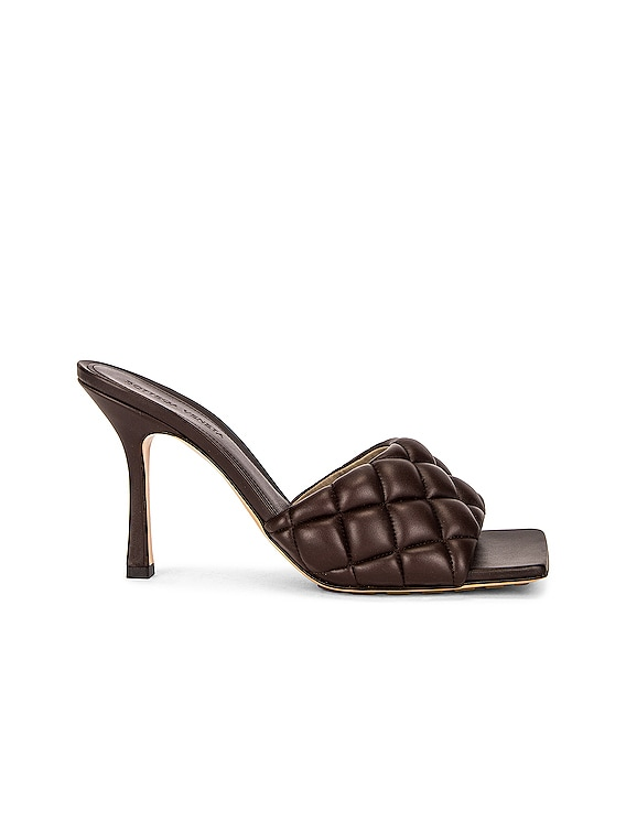 Leather Quilted Mules in Chocolate Spread