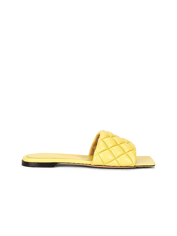 Flat Quilted Sandals in Pear