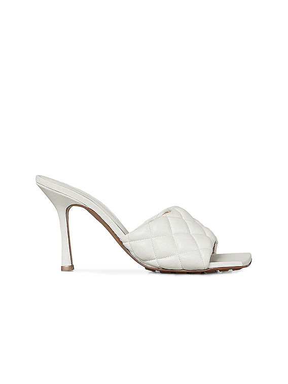 Leather Quilted Mules in Optic White