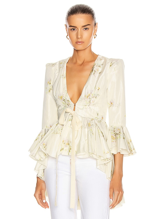 Quaid Floral Ruffle Jacket in Natural