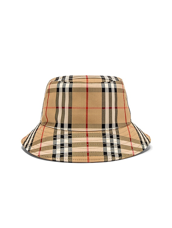 Heavy Cotton Check Bucket Hat in Archive Beige