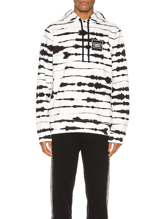 Zebra Print Hoodie in Monochrome IP Pattern
