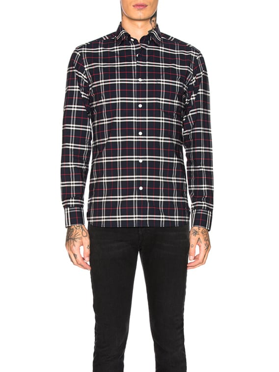 George Small Scale Checkered Flannel in Navy
