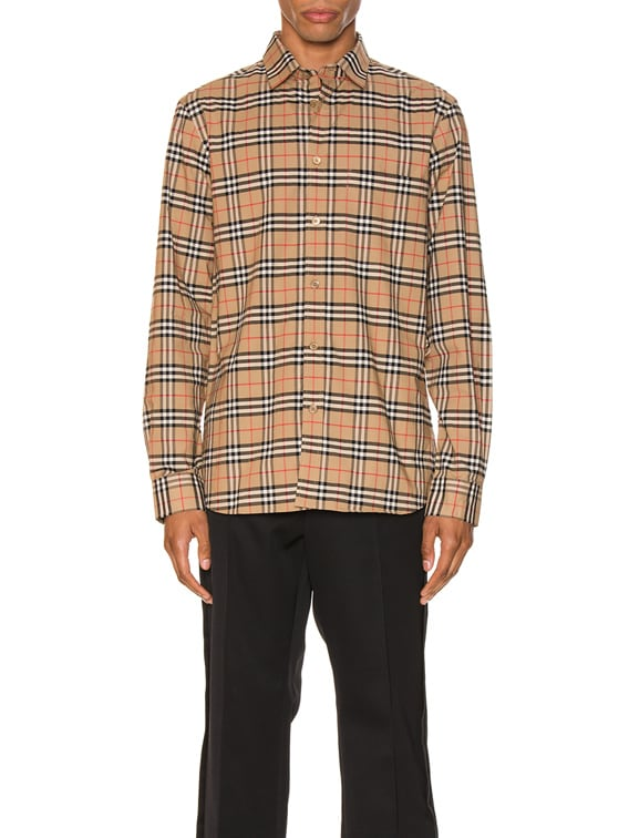 Small Scale Stretch Check Shirt in Camel Check
