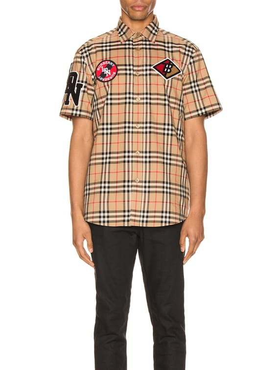 Combe Short Sleeve Shirt in Archive Beige IP Check