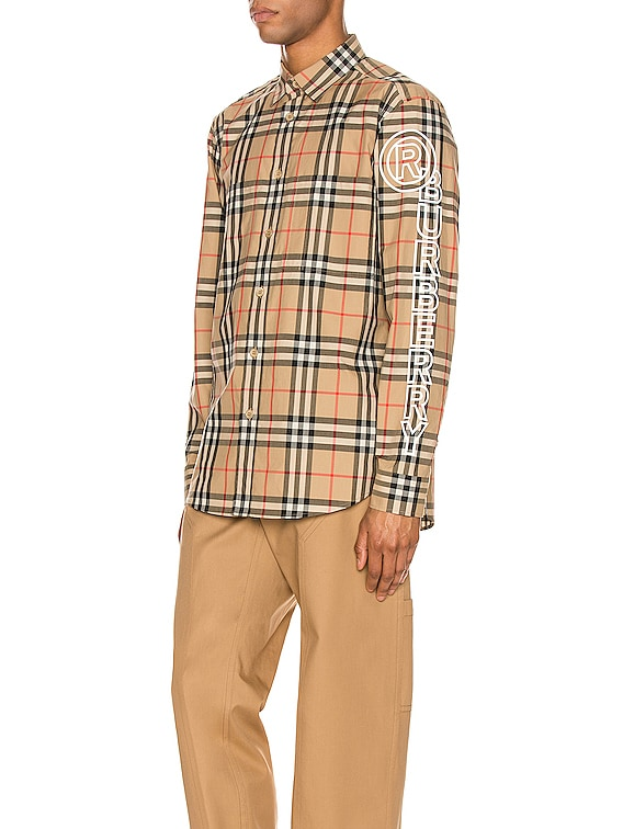 Camerson Long Sleeve Shirt in Archive Beige IP Check