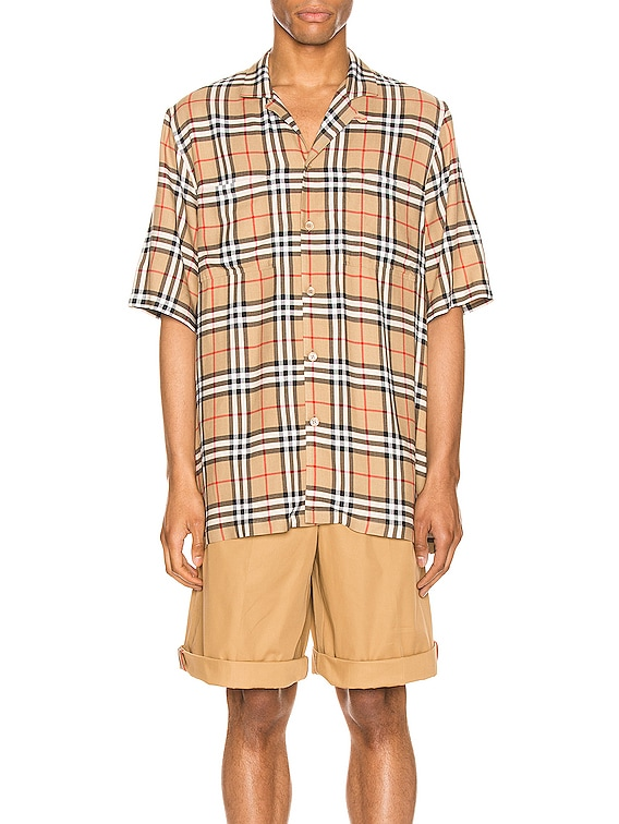 Raymouth Check Short Sleeve Shirt in Archive Beige IP Check