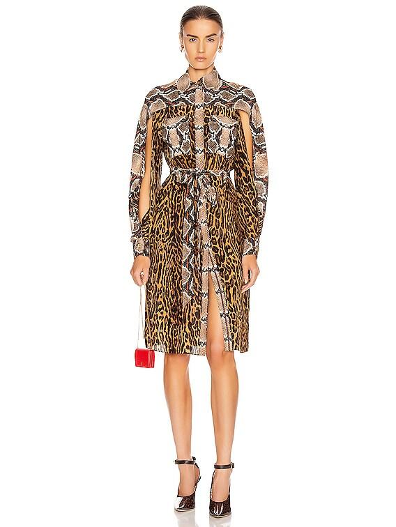 Costanza Animal Print Dress in Dark Mustard