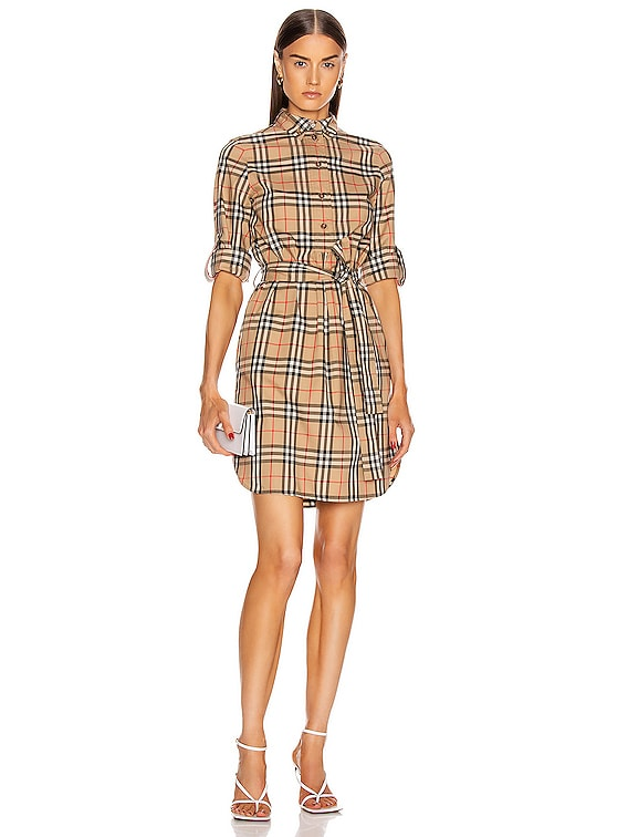 Long Sleeve Dress in Archive Beige Check