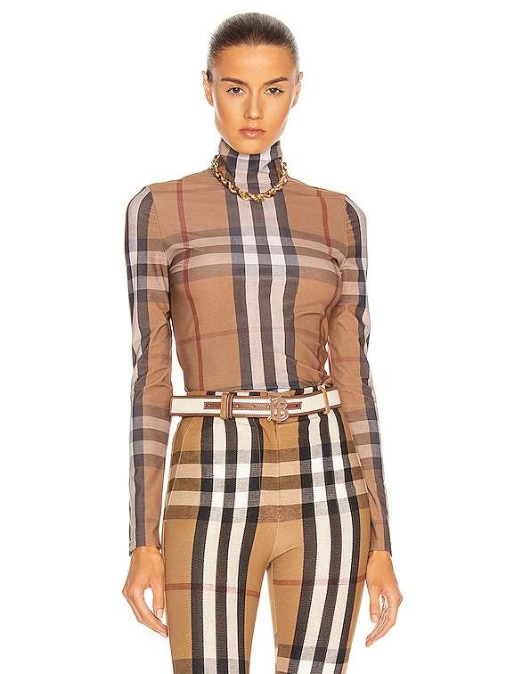 Nylon Stretch Long Sleeve Top in Soft Fawn Check
