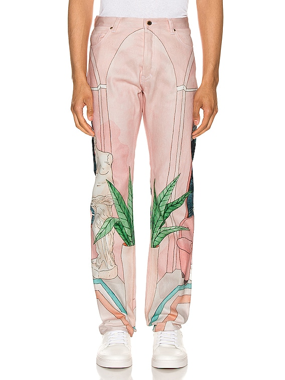 Chambre 602 Printed Denim Jeans in Pink