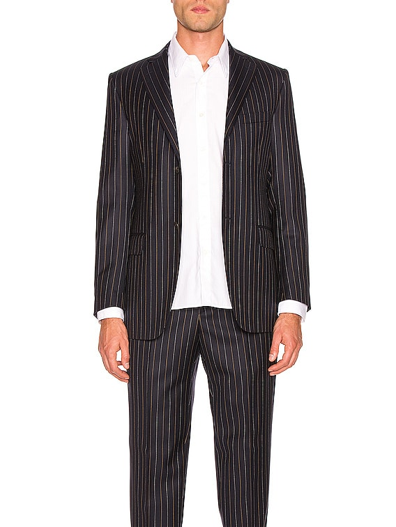 Notch Lapel Blazer in Navy Pinstripe