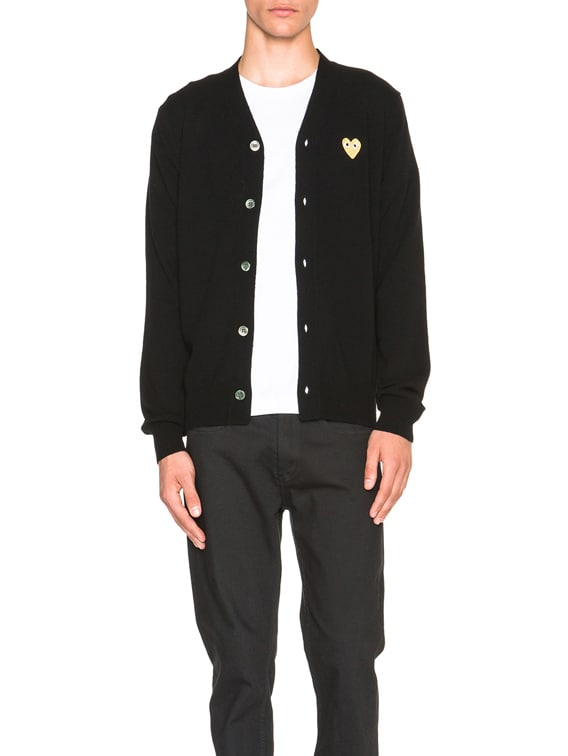 Cardigan with Gold Emblem in Black