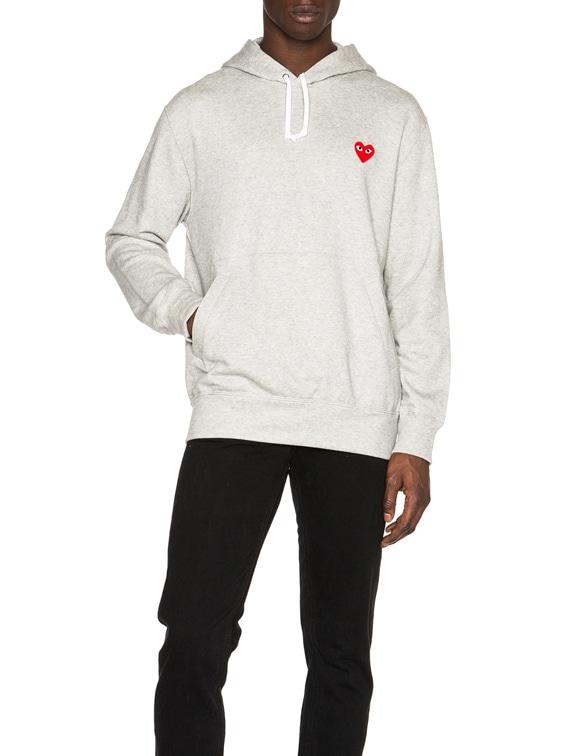 Red Emblem Cotton Hoodie in Grey