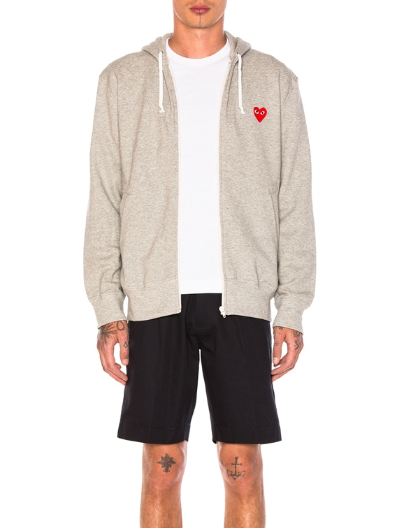 Red Emblem Zip Cotton Hoodie in Grey