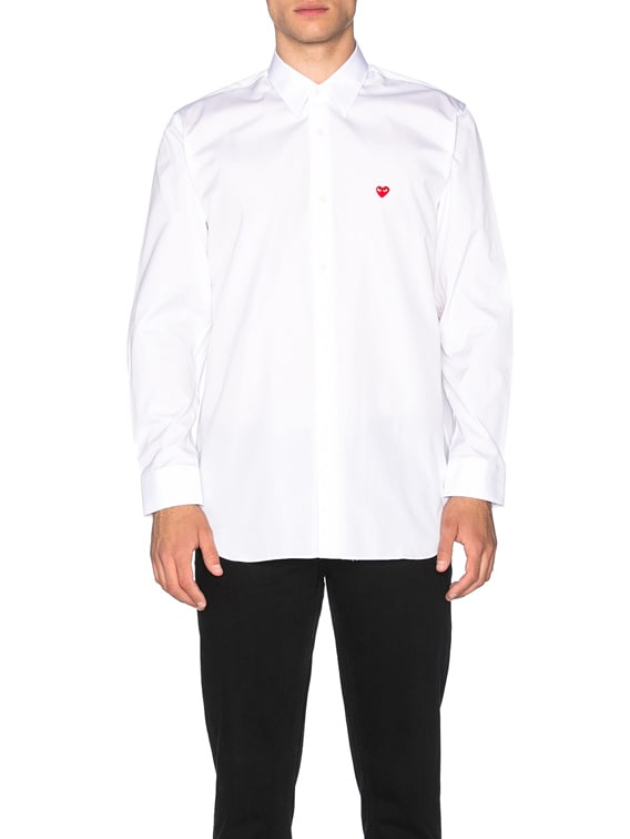Small Red Emblem Cotton Button Down in White
