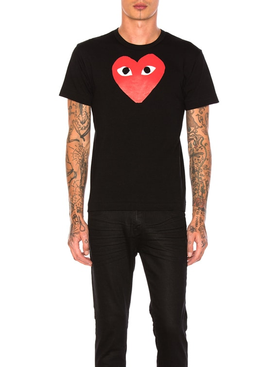 Printed Red Heart Cotton Tee in Black
